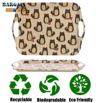 Eco Friendly Biodegradable Bamboo Tray with Cat Decoration Dishwasher Safe