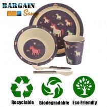 Bamboo Biodegradable Unicorn Kids Diner Set Plate Dish Cup Knife Fork