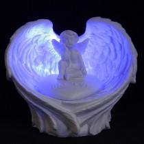 Believe Motto Winged Cherub Figurine Stone with Back Lit Blue LED