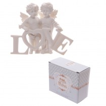 Heavenly Cherubs Figurines Holding the Word LOVE Figure Ornament