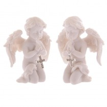 2 Different Character Angels/Cherubs Praying on Knees with Diamond Studded Crucifix