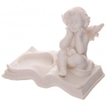 Angel/Cherub Tea Light Holder Posing on an Open Book Resting Face in Hands